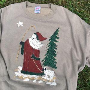 VINTAGE Christmas rustic Santa pullover sweatshirt